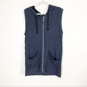 Yogalicious Blue Hooded Zip Up Workout Vest